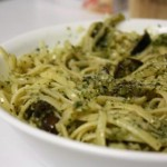 pasta with eggplant and basil pesto