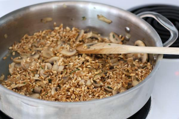 uncooked farro with mushrooms