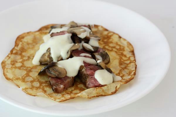 swiss mushroom steak crepe