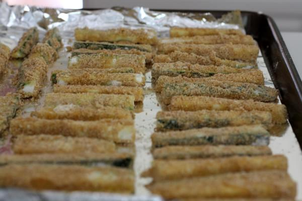 zucchini fries, breaded