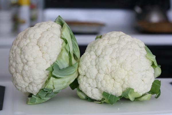 two heads of cauliflower