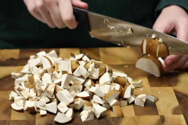 chopping mushrooms