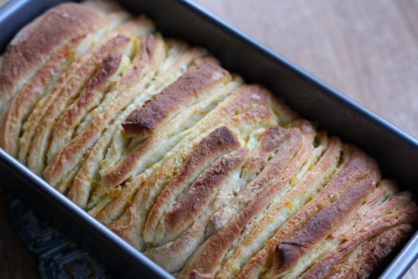 citrus pull apart bread, pre-glaze