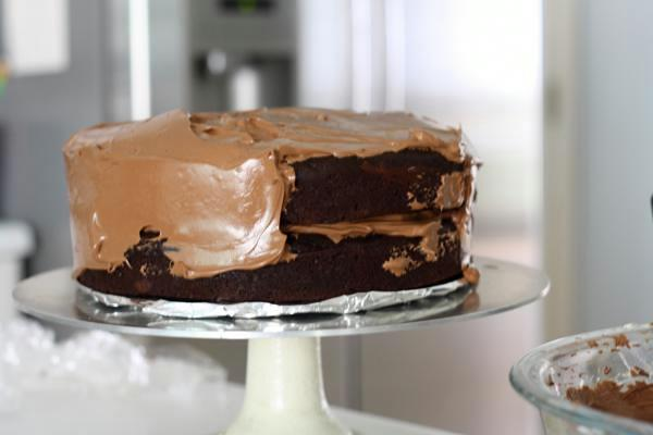 chocolate cake with swiss chocolate buttercream