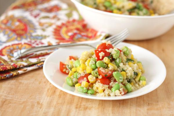 quinoa salad with corn edamame and tomatoes