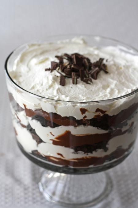 chocolate mint brownie trifle