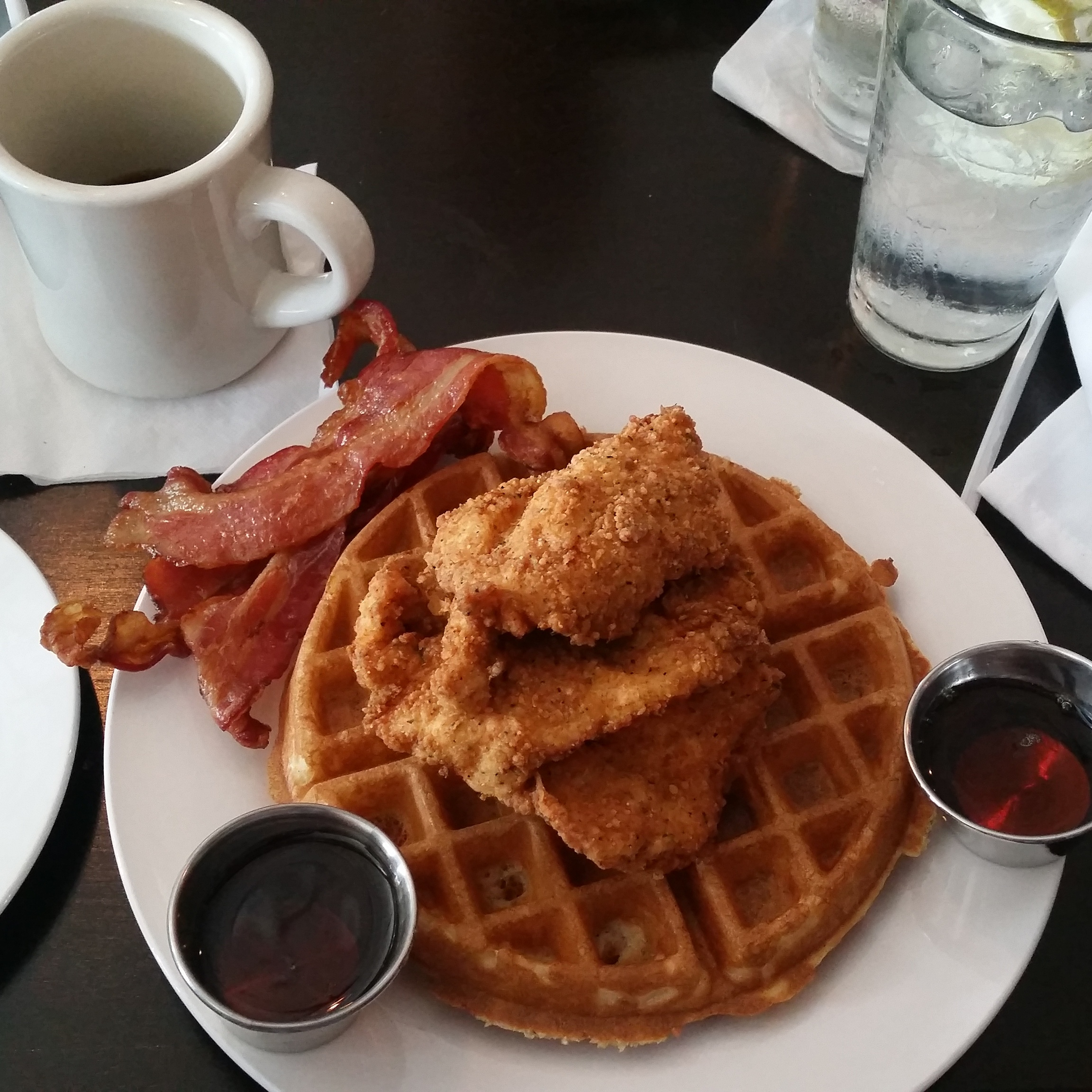 chicken and waffles from the corner grille college park ga
